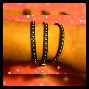 CHARMING CHARLIE • Black Wrap Bracelet w/ Studs